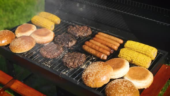 Cover Image for Mixed American Barbecue Food on Hot Grill