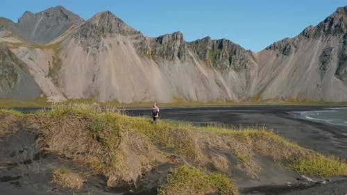 Aerial Drone Fly in Movement in Landscape in Stokksnes Iceland