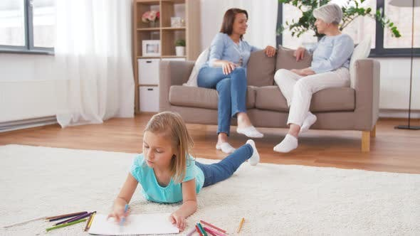 Thumbnail for Adults Talking and Girl Drawing at Home