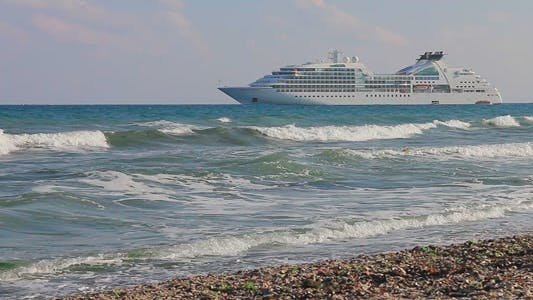 Thumbnail for Cruise Liner Near To The Beach