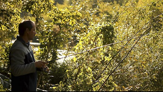 Thumbnail for Fisherman with Spinning on the River 2