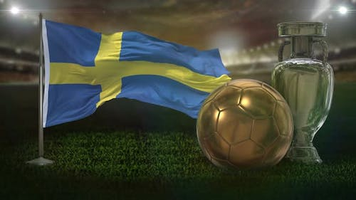 Sweden Flag with Football And Cup Background Loop