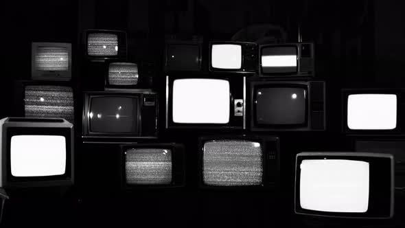 Retro Televisions Turning On and Off Static Noise. 4K Version.
