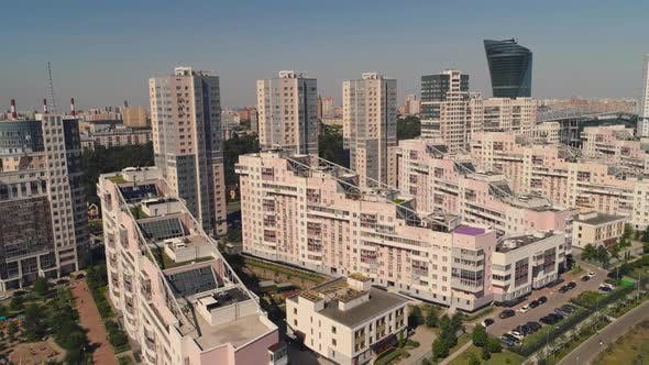 Thumbnail for Moscow Streets, Aerial Survey, Modern Residential Buildings in a Modern Area with a Park Aerial