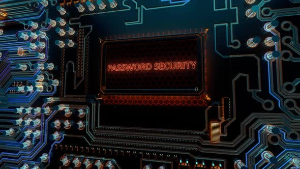 Protection Secure Privacy Access and Password Security Words on Digital Futuristic Circuit Board