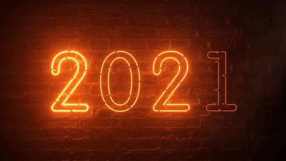 Thumbnail for 2021 Fire Orange Neon Sign Background New Year Concept