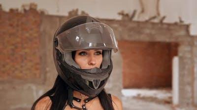 Beautiful Biker in Helmet