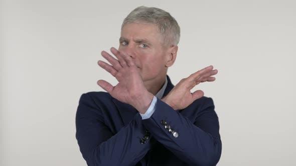 Thumbnail for Disliking Senior Businessman Refusing on White Background