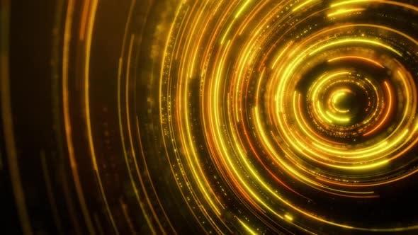 Gold Neon Circles Abstract Futuristic Hi-tech