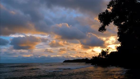 Virgin Unspoiled Caribbean Beach at Sunset