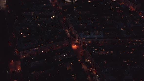 Scenic Aerial Berlin City Night Panorama with Cars in Streets and Illuminated Block Nighbourhood