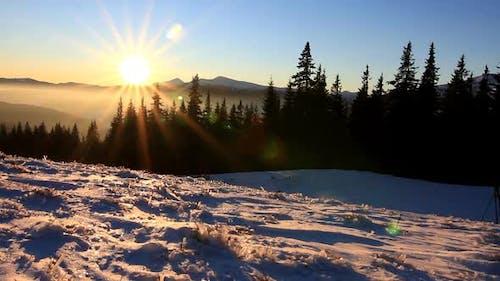 Golden Sun Touching Mountain on Sunset. Winter in Mountains. Ukraine Carpathians Dragobrat