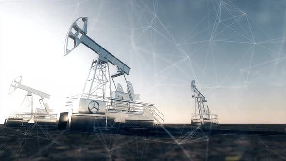 Thumbnail for The Oil Pump Jacks With Plexus Network Connection Lines Oil Industry Crude Oil Prices Concept 4k