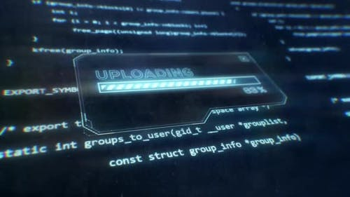 Computer Code Displayed on Sci-Fi Screen as Uploading Message is Displayed