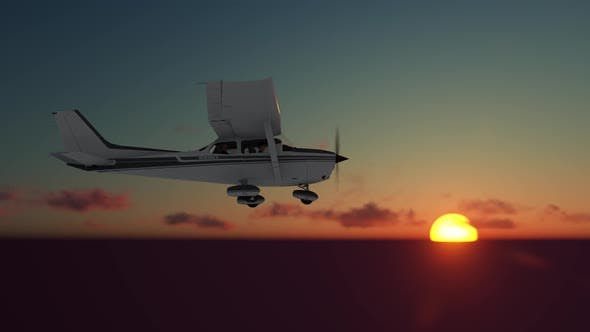 Thumbnail for Aircraft on Sunset Sky