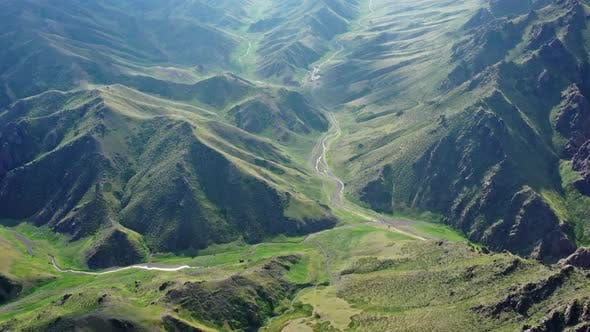 Cover Image for Aerial View of Mountains Landscape in Mongolia