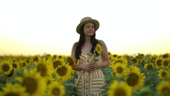 Thumbnail for Carefree Woman Walking and Enjoying Beautiful Sunflower Field at Sunset
