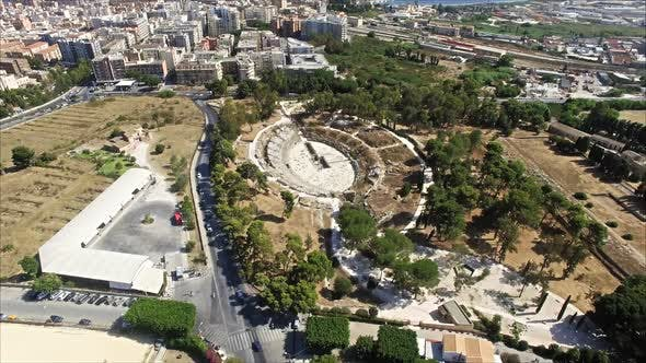 Thumbnail for Ancient Old Greek Theatre Near Modern  City