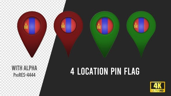 Thumbnail for Mongolia Flag Location Pins Red And Green