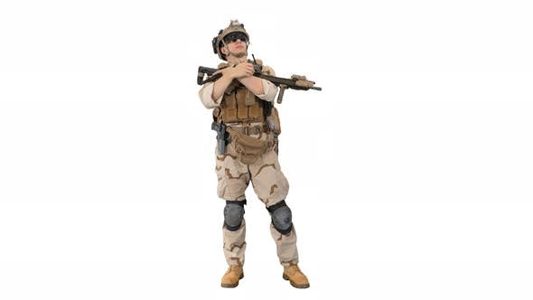 Thumbnail for Tired American Soldier with a Rifle Standing on White Background.