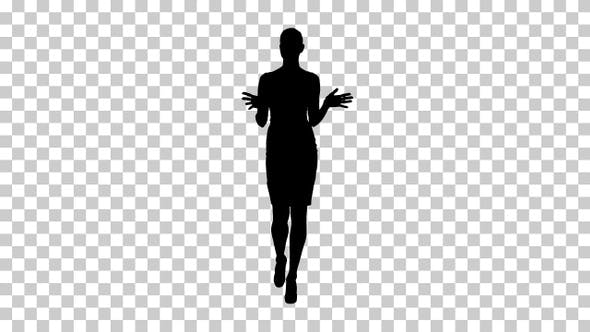Thumbnail for Silhouette Businesswoman walking and talking to the camera