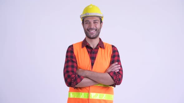 Thumbnail for Happy Bearded Persian Man Construction Worker Smiling with Arms Crossed