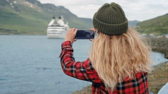 Thumbnail for Young Woman Sits in Port Watch Cruise Ship Leave