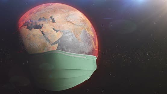 Thumbnail for Earth Turning With Medical Mask Side Protecting From Corona Virus Loop
