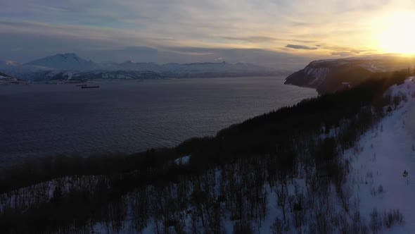 Thumbnail for Ofotfjord Fjord and Mountains in Winter. Norway. Aerial View