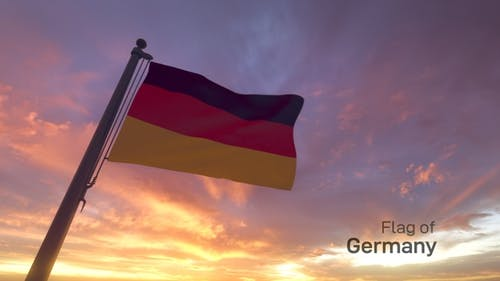 Germany Flag on a Flagpole V3