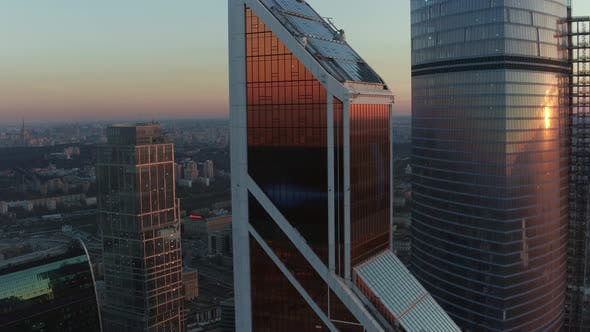 Thumbnail for An Aerial View of Reflective Skyscrapers Against the Urban View