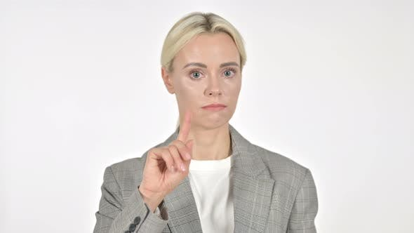 Thumbnail for Businesswoman Waving Finger To Refuse on White Background