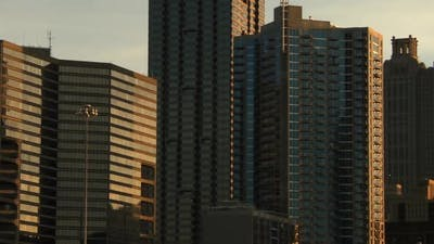 Panning shot of the Atlanta Skyline.