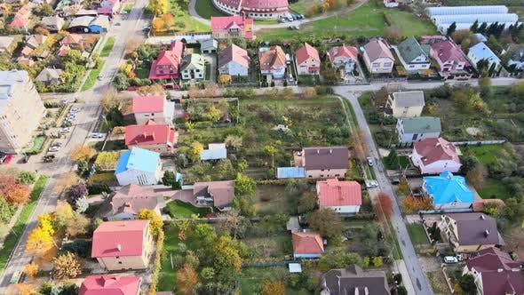 Residential Area of the City at Aerial Cityscape Houses in Small Town in the Uzhhorod Ukraine Europe