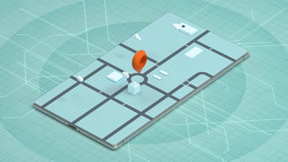 3d city on the mobile phone with location pins.