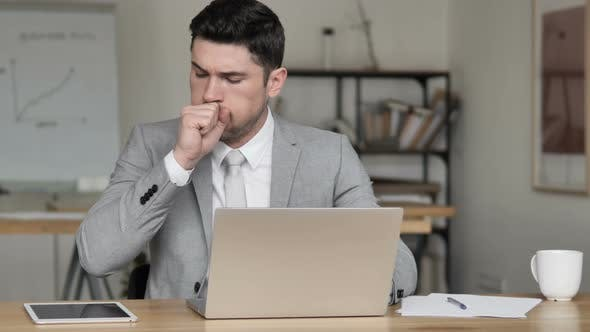 Thumbnail for Sick Businessman Coughing at Work