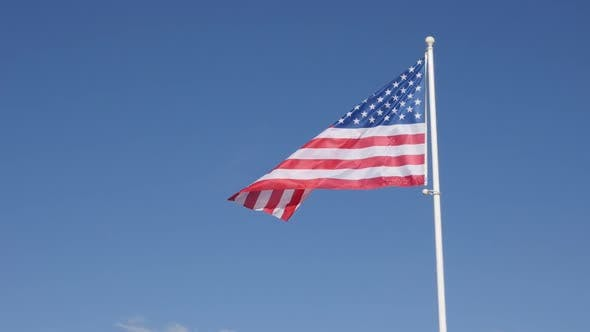 Thumbnail for American flag fabric in slow motion waving on the wind 1920X1080 HD footage - United States of Ameri