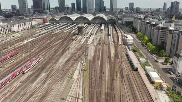Thumbnail for AERIAL: Forward Flight Over Frankfurt Am Main, Germany Central Train Station Train Tracks on