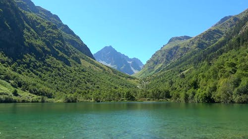 View lake scenes in mountains, national park Dombai