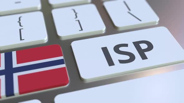 Internet Service Provider Text and Flag of Norway on the Keyboard