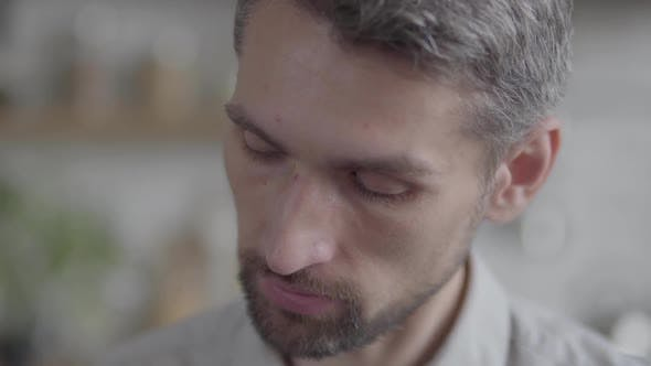 Thumbnail for Portrait of Sad Man Looking at Camera Enjoying Executive Lifestyle