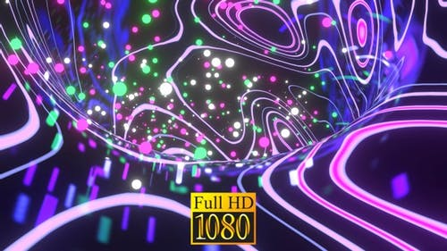 Falling Neon Balls Into The Funnel HD
