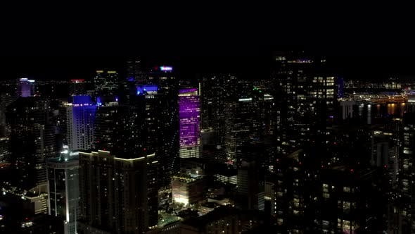 Establishing Drone Video Miami Brickell Night Time