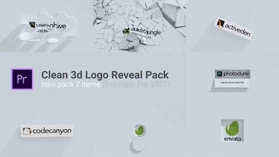 Clean 3d Logo Reveal Pack (7 Items)