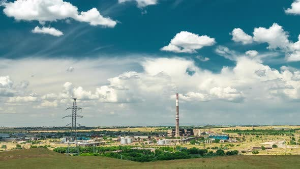 Thumbnail for Industrial Landscape - Thermal Power Station with Blue Cloudy Sky