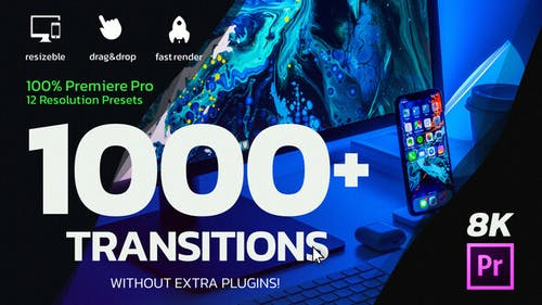 1000 Premiere Pro Transitions | Motion Design Presets | Resizable