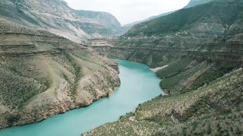 Breathtaking wild landscape with high cliffs