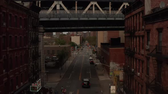 Thumbnail for Low Flight Through Chinatown, New York City Street with Under Bridge
