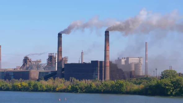 Thumbnail for Smoke From the Chimneys of Industrial Metallurgical Plant Rises in the Atmosphere Near the City