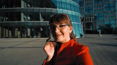 Businesswoman Making Selfie